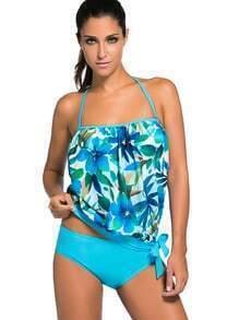 Blue Floral Print Halter Tankini Set