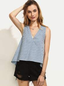 Blue Striped Bow Split Back V Neck Tank Top