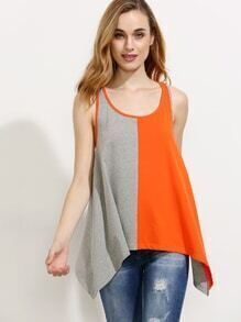 Colorblock Scoop Neck Back Tank Top