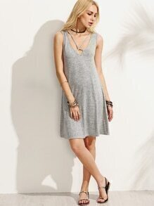 Grey Cutout Backless Sleeveless Dress