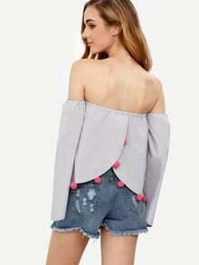 Grey Tassel Tie Off The Shoulder Pom-pom Trim Blouse