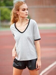 Grey V Neck Short Sleeve T-shirt