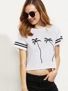 White Trees Print Striped Cuff Short Sleeve T-shirt