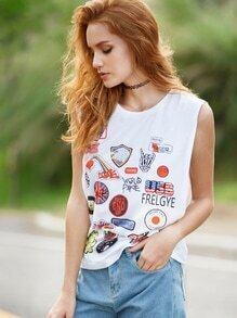 Multicolor Print Drop Armhole Tank Top