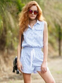 Blue Striped Turndown Collar Tie Waist Sleeveless Jumpsuit