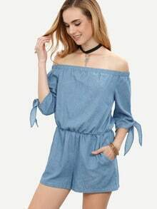 Blue Pocket Tie Cuff Off The Shoulder Jumpsuit