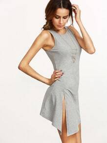 Grey Wrinkle Split Side Dress