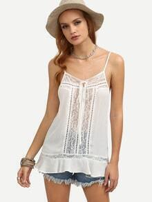 White Spaghetti Strap Tie Hollow Tank Top