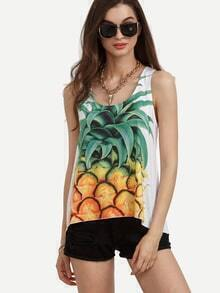 Multicolor Pineapple Print Scoop Neck Tank Top
