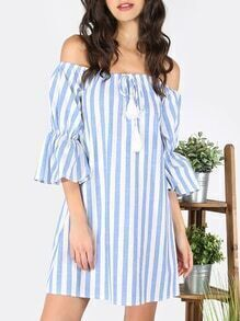 Blue Striped Tassel Tie Off The Shoulder Dress