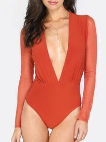 Red Deep V Neck Long Sleeve Bodysuit