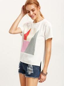 White Short Sleeve Split Print T-shirt