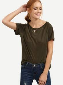 Army Green Tassel Tie Backless Short Sleeve T-shirt