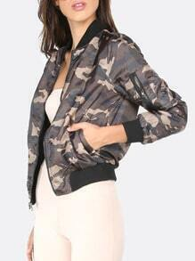 Camouflage Casual Zipper Pocket Long Sleeve Jacket