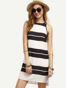 Black and White Striped Sleeveless Shift Dress
