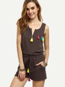 Brown Zipper Tassel Pocket Sleeveless Tie Waist Jumpsuit