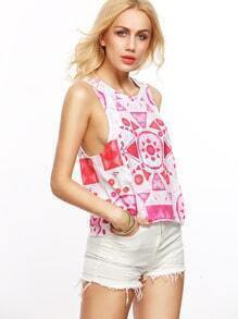 Pink In White Geometric Print Crop Top