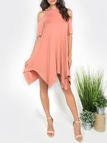 Brown Cut-out Sleeve Casual Shift Dress