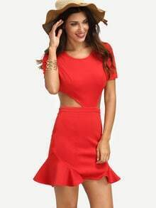 Red Short Sleeve Cut Out Dress
