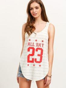 Multicolor Striped Letters Print Hooded Tank Top