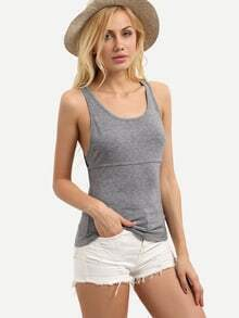 Grey Scoop Neck Hollow Back Tank Top