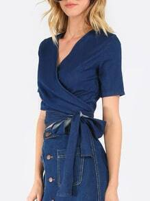 Navy V Neck Short Sleeve Tie Blouse