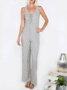 Grey Sleeveless Lace-up Backless Jumpsuit