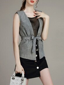 Grey Sheer Tie-Waist Three-piece Top With Skirt