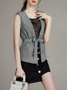 Grey Sheer Tie-Waist Three-piece Top With Skirt