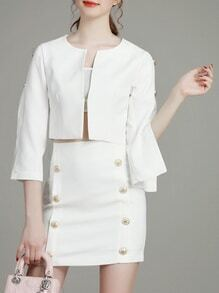 White Split Sleeve Top With Skirt
