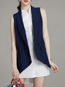 Navy Waistcoat Two-piece High Low Dress