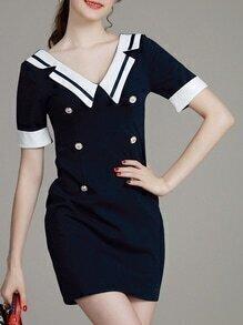 Navy V Neck Backless Sheath Dress