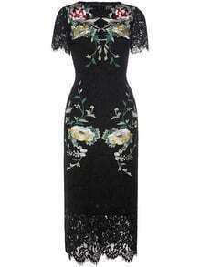 Black Flowers Embroidered Lace Dress