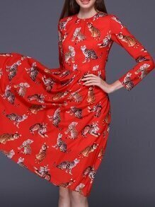Red Crew Neck Cats Print A-Line Dress