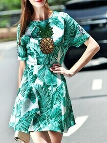 Green Leaves Print Pineapple Beading Dress