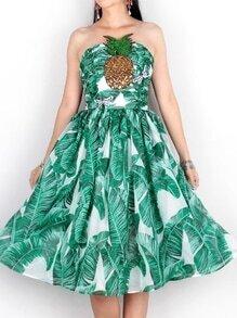 Green Strapless Leaves Print Pineapple Beading Dress