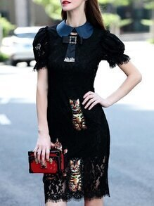 Black Tie Neck Cat Applique Pouf Lace Dress