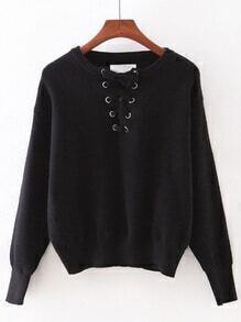 Black Elastic Cuff Lace Up Sweater
