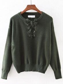 Jasper Elastic Cuff Lace Up Sweater