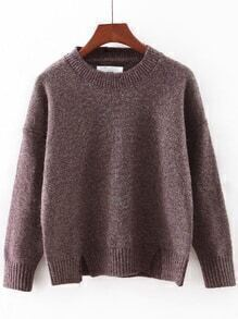 Brown Round Neck Split Knitwear