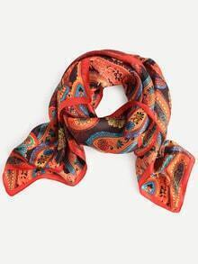 Red Cashew Print Square Scarf