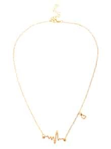 Gold Heart Electrocardiogram Shaped Chain Necklace