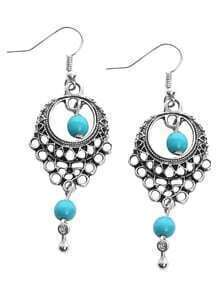 Silver Plated Hollow Out Blue Turquoise Earrings