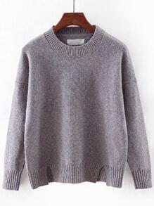 Grey Round Neck Split Knitwear