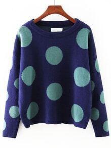 Royal Blue Round Neck Polka Dot Sweater