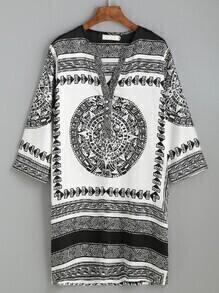 White Tribal Print Half Placket Tunic Dress