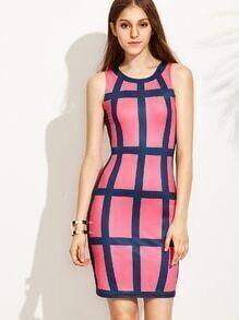 Pink Plaid Sleeveless Bodycon Dress