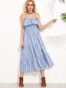 Blue Vintage Print Elastic Waist Slip Dress