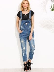 Blue Ripped Overall Jeans