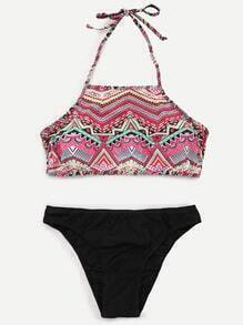 Multicolor Tribal Print Mix And Match Bikini Set